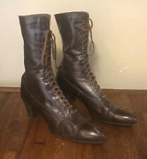 Antique Victorian Women's Dark Shiny Brown High Top Lace Up Heeled Boots/Shoes