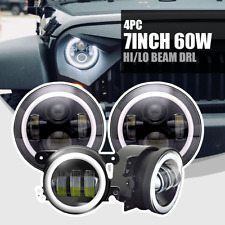 """7""""Inch  60w LED Headlights with DRL+4""""Fog Lights For Jeep Wrangler(4pcs)"""