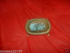 Vintage Brass Soap or Change Dish   Footed w Petina