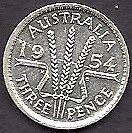 AUSTRALIA 1954 QU ELIZ II SILVER Threepence 3d COIN EF