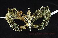 Gold LASER CUT Venetian Masquerade Costume Fancy Dress Crystals prom Mask ladies