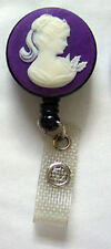 Purple CAMEO Retractable Key Card Holder/ID Badge Reel/Security Chain  Ring