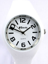 Ravel Ladies Modern Big Number Large Watch White Silicon Strap, Summer Range