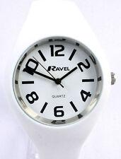 Ravel Ladies Modern Big Number Large Watch White Silicon Strap, Summer Range