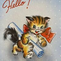 Vintage Mid Century Greeting Card Graduation Graduate Cute Kitty Cat Hallmark