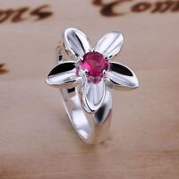 *UK* 925 SILVER PLT FLOWER FAUX RED GEM CRYSTAL BAND RING STATEMENT ROSE LADIES