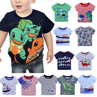 New Kids Boys Tractor Cartoon Striped T-Shirt Short Sleeves Cotton Tops Age 2-6Y