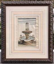 Original 17th C. Hand Colored Engraving Italian Baroque Fountain, Georg Bockler