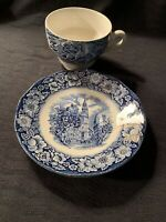 Vintage Liberty Blue, Tea Cup & Saucer 'Old North Church' Made in  England