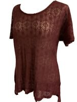 Large Painted Threads Burgundy Lace Short Sleeve Top Women's Sheer