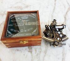 "4"" BRASS MARITIME NAUTICAL ANTIQUE SEXTANT ASTROLABE NAVIGATIONAL W/ WOODEN BOX"