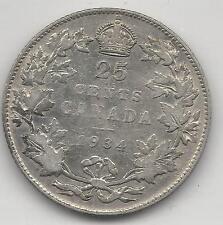 CANADA,  1934, 25 CENTS,  SILVER,  KM#24a,  VERY FINE ( See Notes )