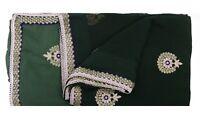 Vintage Green Saree Pure Georgette Silk Hand Beaded Fabric Ethnic Sari Craft