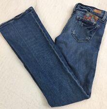Paige Women's Jeans Laurel Canyon Distressed Bootcut Cotton Stretch Sz 26 X 34