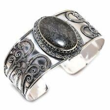Stingray Coral Gemstone Vintage 925 Sterling Silver Cuff Bracelet Adjustable