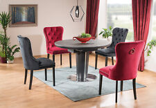 """ORBIT"" Anthracite & Dark Grey Ceramic Marble Round(Oval) Extending Dining Table"