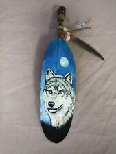 HAND PAINTED FEATHER ,ARTS & CRAFTS ,SOUTHWEST ART ,SANTA FE STYLE , WOLF ,03