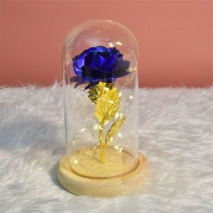 24K Gold Plated Dipped Rose Flower in glass dome Romantic Gift Love for mom girl