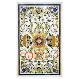 """White Marble 60""""x36"""" Dining Furniture Table Top Italian Inlay Living Decor E1562"""