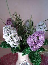 VINTAGE HANDMADE GLASS BEADED FLOWERS + GIFT