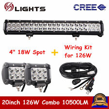 126W 20INCH BOAT LED LIGHT BAR COMBO OFFROAD FORD SUV With 18W Spot + Wiring Kit