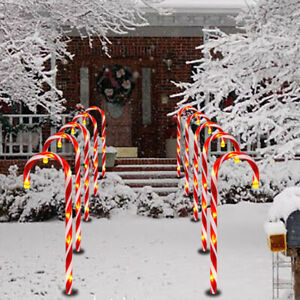 10 Pack LED Christmas Candy Cane Pathway Marker Light Holiday Walkway Decoration