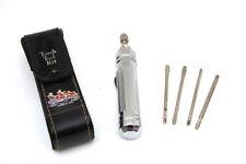 Superb Vintage Torch Tool Kit + 4 Screw Driver Bits Humber 1908 Car Leather Case