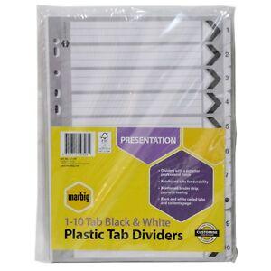 5x10 Packs of Marbig 1-10 Tab Black & White Plastic Tab Dividers 35117F