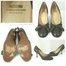 MOSCHINO Cheap and Chic Brown Leather Heels Shoes Pumps Tassel Round Toe Size 10