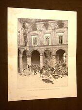 Risorgimento d'Italia 15 maggio 1848 a Napoli Gravina Incisione di E. Matania