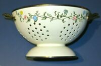 Vintage Enamelware Strainer/Colander. Floral, Leaf Design. Footed with Handles.