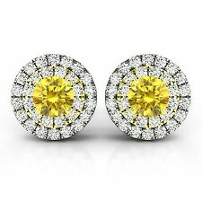 0.75 Carat Yellow Diamond Pair VS2 Double Halo 14k Yellow Gold Earrings