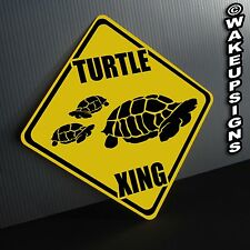 Turtle Crossing Sign Aluminum metal collectible funny novelty Tortoise Pond
