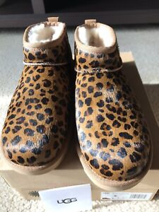Authentic NIB Ugg Classic Ultra Mini Leopard Boots Women's Size 8 Natural Color