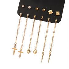 6 pairs of earrings 3 studs 3 drops cross hearts spike zircon earwear women
