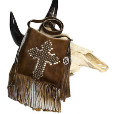 Raviani Cross-body Fringe Bag brown Brindle Leather W/ Cross Studs & Crystals