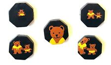 5 Hand Painted Mama/Baby Bear Octagon Buttons by Marie-Christine Pavone of Paris