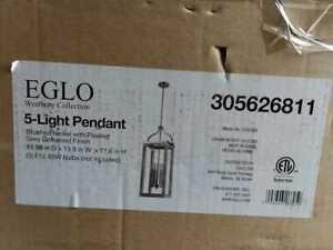 Eglo Westbury 5-Light Brushed Nickel with Painted Grey Driftwood Pendant