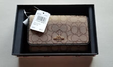 New Womens Coach Brown/Khaki Signature Phone Clutch Wristlet