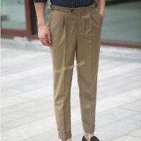 Vintage High Waist Paris Buckle Gurkha Pants Men's Pleated Slim Suit Trousers
