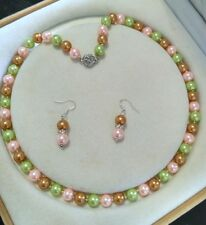 8mm multicolor South Sea Shell Pearl necklace AAA 18 inches Earring Set j0
