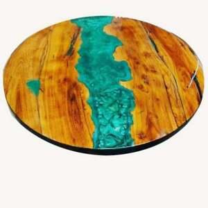 "15"" Epoxy Corner Coffee Table Top Walnut Dining Tables Epoxy Table Home Decor"