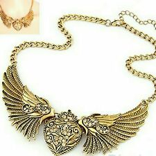 Rhinstone Gold Stainless steel  Choker Angel Wings with heart Pendant Necklace