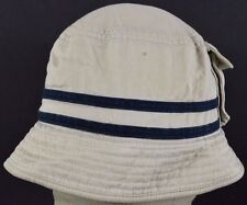 Tan Beige Kids GAP  With pouch pocket striped fishing bucket hat cap fitted