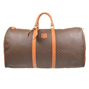 CELINE Macadam Travel Hand Boston Bag Purse Brown PVC Leather Italy 62407