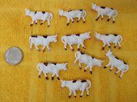 Vintage Miniature Cow Head Up 1 1/8 x 5/8 Inch White Brown Farm Rail Road 10 PC