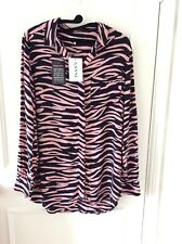 NEW Ganni Animal Zebra Print Shirt Blouse Pink Black Size 38 - BNWT!