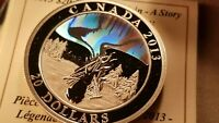 Canada 2013 $20 Hologram Silver Coin The Great Hare Northern Lights.