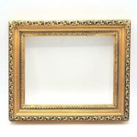 "Vintage 11-1/2""x9-1/2"" Painted Gold Wood Ornate Picture Frame for 8""x6"""