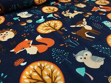 Stoff Baumwolle Jersey Hirsche Füchse Eulen Hasen blau bunt Kinderstoff